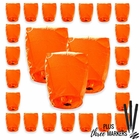 25pcs ECO Wire-Free Flying Chinese Sky Lanterns with Markres (Set of 25, Eclipse, Orange) - Premier