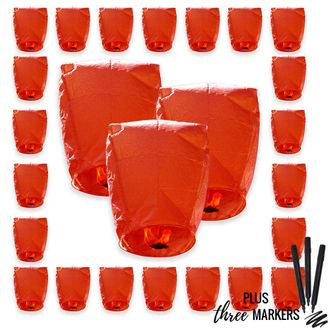 25pcs ECO Wire-Free Flying Chinese Sky Lanterns with Markres (Set of 25, Eclipse, Red) - Premier