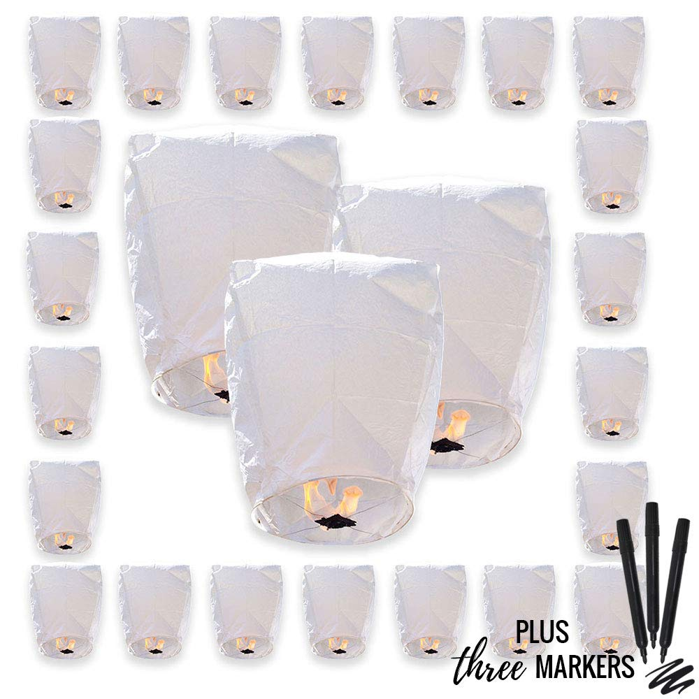 25pcs ECO Wire-Free Flying Chinese Sky Lanterns with Markres (Set of 25, Eclipse, White) - Premier