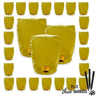 25pcs ECO Wire-Free Flying Chinese Sky Lanterns with Markres (Set of 25, Eclipse, Yellow) - Premier