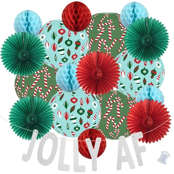 25pcs Frosty Jolly AF Paper Lantern Hanging Kit - Premier