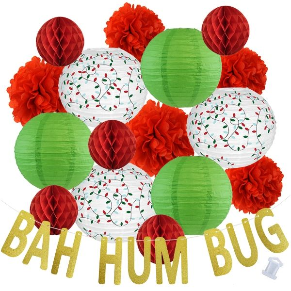 27pcs Holiday Bah Hum Bug Paper Lantern Hanging Kit - Premier