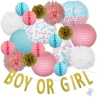 29pcs Gender Reveal Gold Boy or Girl Paper Lantern Hanging Kit - Premier