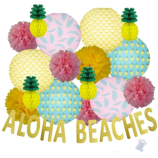 29pcs Seashore Aloha Beaches Paper Lantern Hanging Kit - Premier