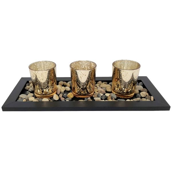 3 Candle Holder Set with Black Tray and Pebbles  Mercury Glass Speckled Gold
