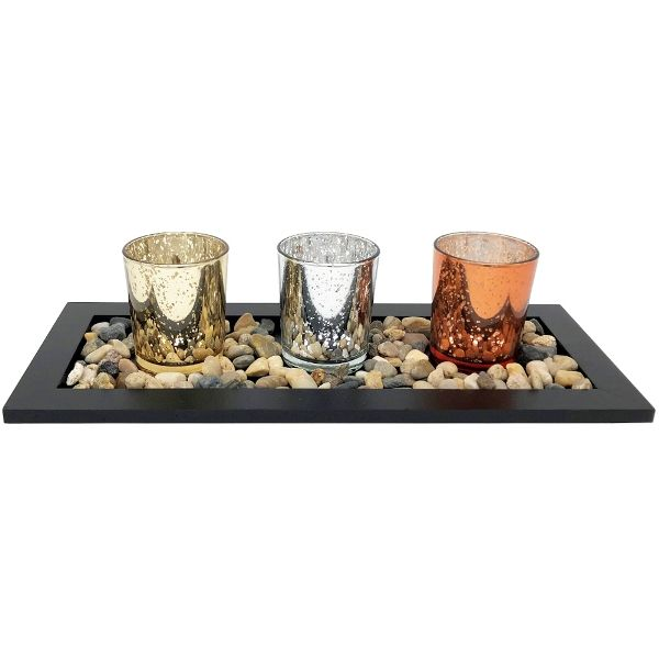 3 Candle Holder Set with Black Tray and Pebbles Mercury Glass Speckled Silver Gold Copper