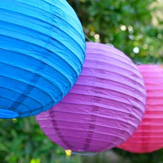 "3"" Fuchsia Purple Mini Paper Lanterns 10pcs"