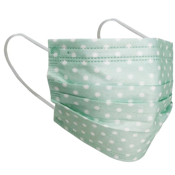 3 Layer Disposable Face Mask Mint Polka Dot 10pcs