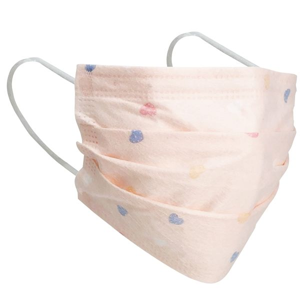 3 Layer Disposable Face Mask Pale Pink Hearts 10pcs