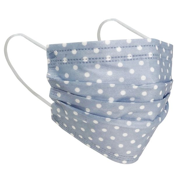 3 Layer Disposable Face Mask Vintage Blue Polka Dot 10pcs
