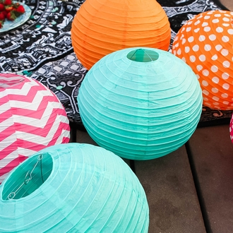 "3"" Orange Mini Paper Lanterns 10pcs"