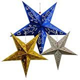 3 Star Paper Lanterns (Gold/Red) - Premier
