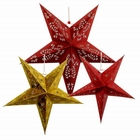 3 Star Paper Lanterns (Red/Gold) - Premier