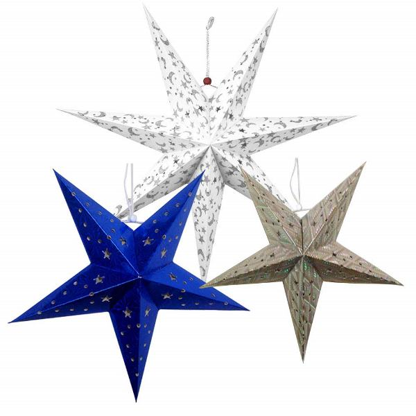 3 Star Paper Lanterns (White/Blue/Silver) - Premier