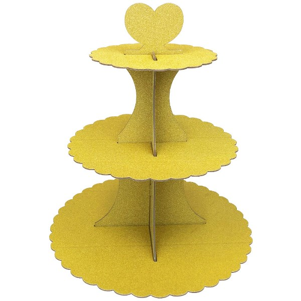 3-Tier Cupcake Stand Glitter Gold