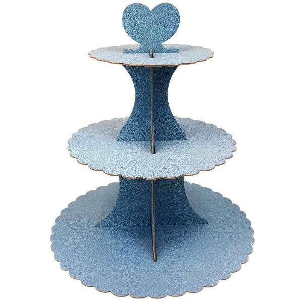 3-Tier Cupcake Stand Glitter Light Blue