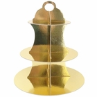 3-Tier Cupcake Stand Metallic Gold