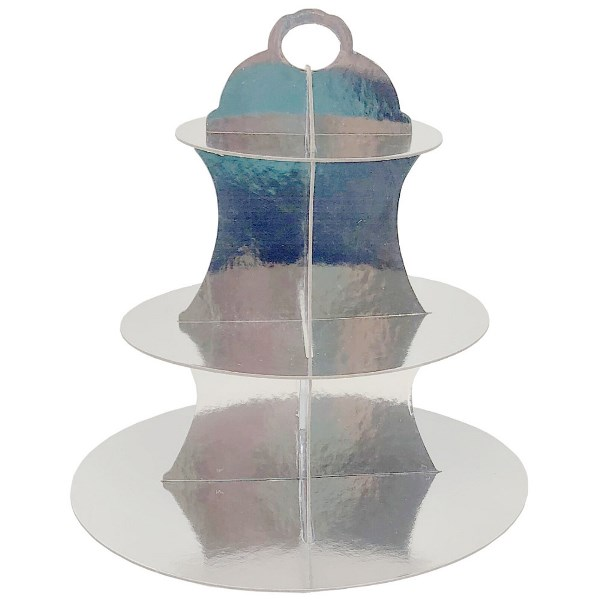 3-Tier Cupcake Stand Metallic Silver