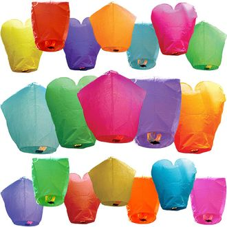 30 Eco Wire-Free Assorted Chinese Flying Sky Lanterns (30-Pack, Assorted Shapes & Colors) - Premier
