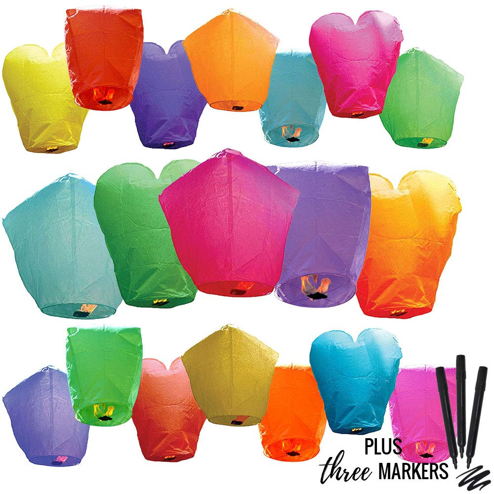30pc Eco Wire-Free Assorted Chinese Flying Sky Lanterns with Markers (30-Pack, Assorted Shapes & Colors) - Premier