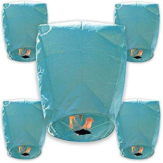30pcs ECO Wire-Free Flying Chinese Sky Lanterns (Set of 30, Eclipse, Blue) - Premier