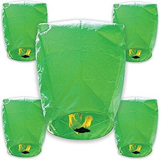 30pcs ECO Wire-Free Flying Chinese Sky Lanterns (Set of 30, Eclipse, Green) - Premier