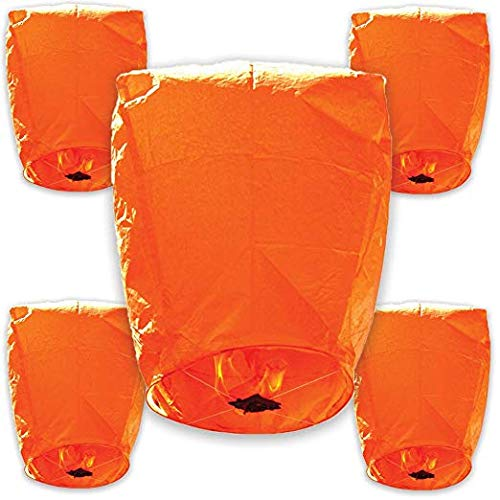 30pcs ECO Wire-Free Flying Chinese Sky Lanterns (Set of 30, Eclipse, Orange) - Premier