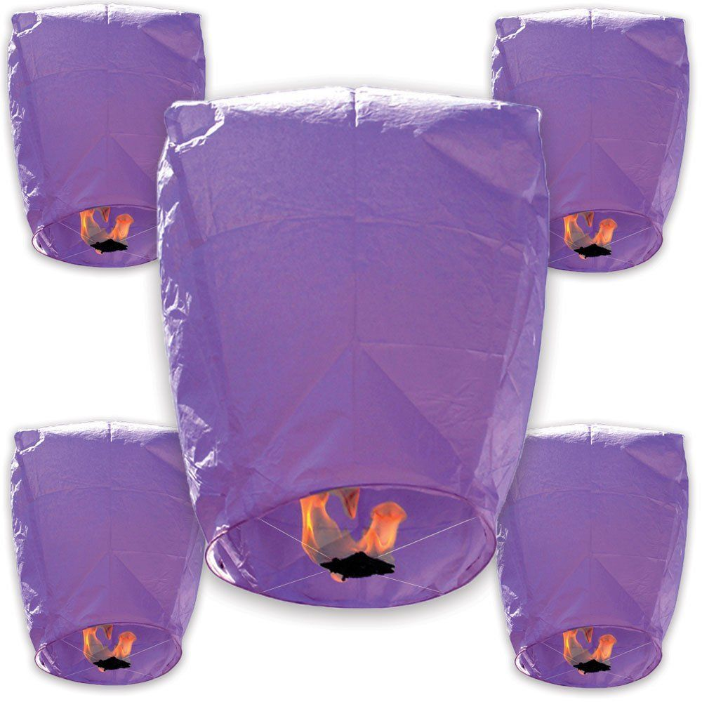 30pcs ECO Wire-Free Flying Chinese Sky Lanterns (Set of 30, Eclipse, Purple) - Premier