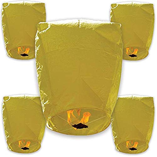 30pcs ECO Wire-Free Flying Chinese Sky Lanterns (Set of 30, Eclipse, Yellow) - Premier