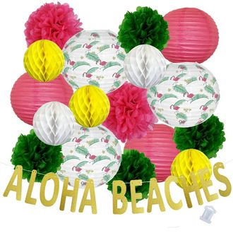 30pcs Flamingo Palm Aloha Beaches Paper Lantern Hanging Kit - Premier