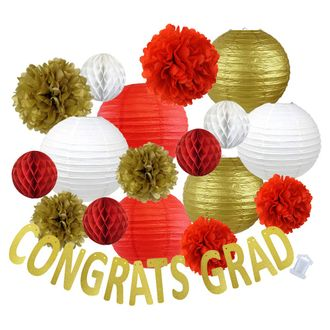 30pcs Hanging Paper Lantern Decoration Kit for Graduations (30pcs, Red & Gold) - Premier
