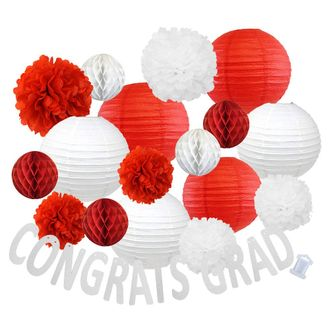 30pcs Hanging Paper Lantern Decoration Kit for Graduations (30pcs, Red & White) - Premier