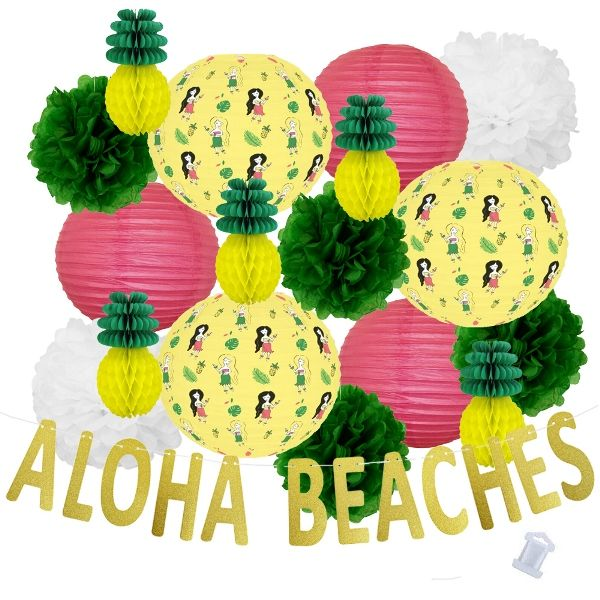 30pcs Hula Aloha Beaches Paper Lantern Hanging Kit - Premier