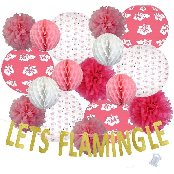 31pcs Island Paradise Lets Flamingle Paper Lantern Hanging Kit - Premier
