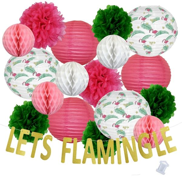31pcs Palm Frond Lets Flamingle Paper Lantern Hanging Kit - Premier