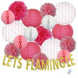 31pcs Pink Flock Lets Flamingle Paper Lantern Hanging Kit - Premier
