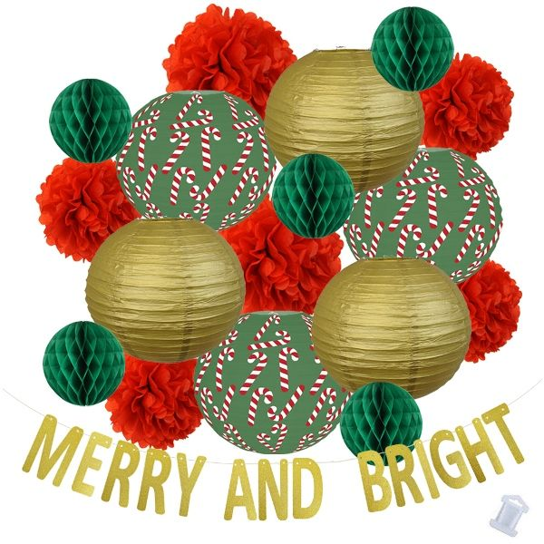 32pcs Candy Cane Merry and Bright Paper Lantern Hanging Kit - Premier