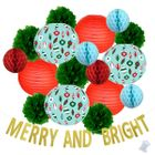 32pcs Frosty Merry and Bright Paper Lantern Hanging Kit - Premier