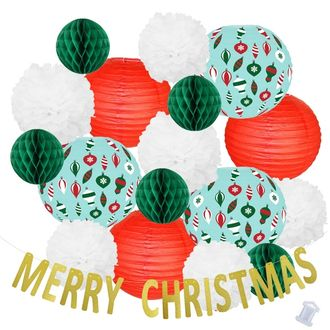 32pcs Sleigh Bells Merry Christmas Paper Lantern Hanging Kit  - Premier