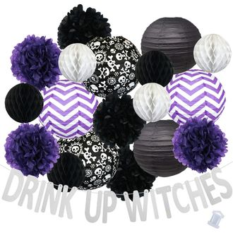 33pcs Chilling Drink Up Witches Paper Lantern Hanging Kit