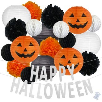 34pcs Jack-O-Lantern Happy Halloween Paper Lantern Hanging Kit