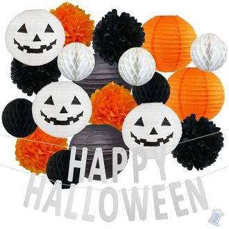 34pcs Spooky Happy Halloween Paper Lantern Hanging Kit