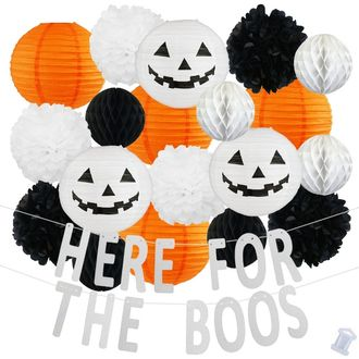 34pcs Spooky Here For The Boos Paper Lantern Hanging Kit