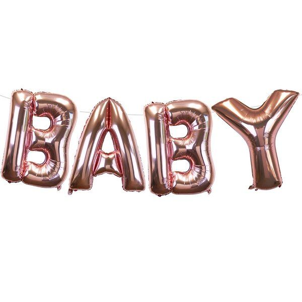"35"" Foil Mylar Balloon BABY Rose Gold"