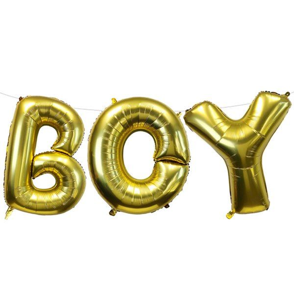 "35"" Foil Mylar Balloon BOY Gold"