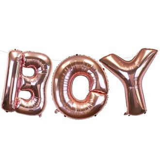 "35"" Foil Mylar Balloon BOY Rose Gold"