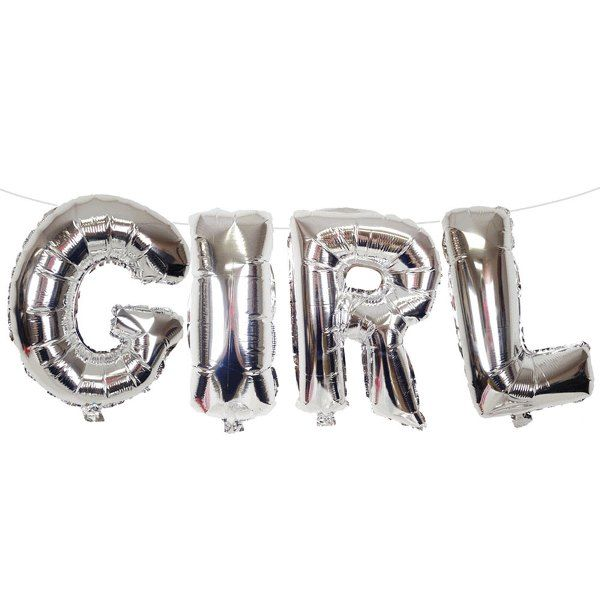 "35"" Foil Mylar Balloon GIRL Silver"