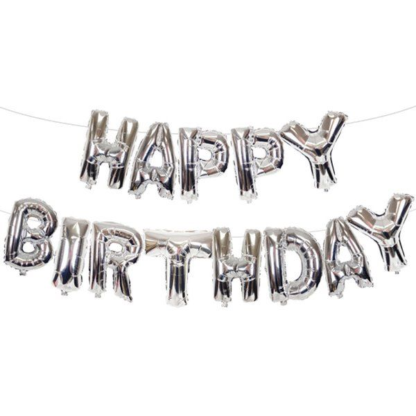 "35"" Foil Mylar Balloon HAPPY BIRTHDAY Silver"