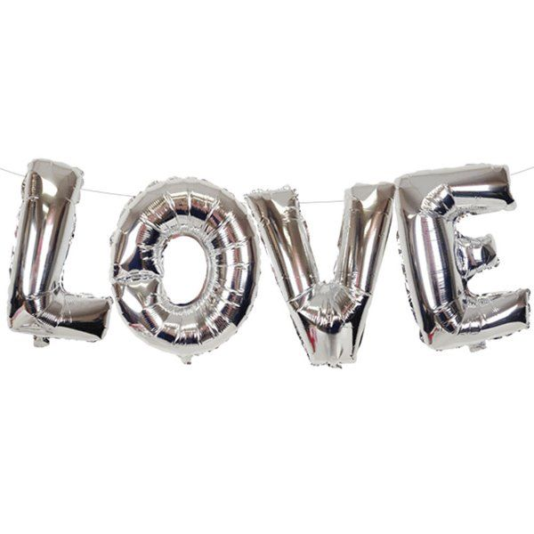 "35"" Foil Mylar Balloon LOVE Silver"