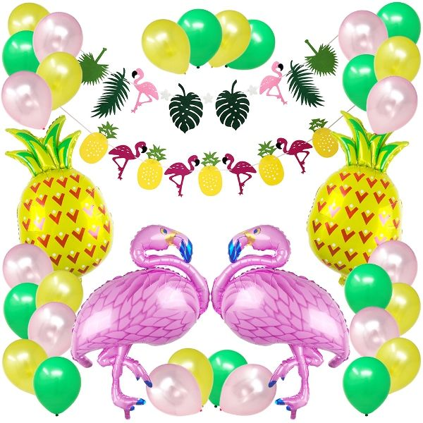 36pcs Tropical Flamingo Pineapple Party Decoration Kit